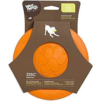 West Paw Zogoflex Zisc Durable Dog Frisbee Nearly Indestructible Flying Disc Dog Toy, 100% Guaranteed Tough, It Floats!, Made in USA, 8.5-Inch Large, Tangerine