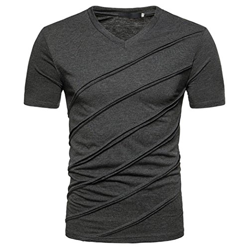- iLXHD Personality Men's Casual Slim Solid Short Sleeve T Shirt Top Blouse(XL,Dark Gray)