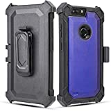 Customerfirst for ZTE Blade Z MAX/ZMAX PRO 2 / ZTE Sequoia Holster Heavy Duty Hard Cover Armor Combo Crystal Case with Belt Clip, Kickstand & Built in Screen Protector (Purple)