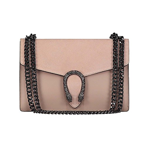 RONDA Baugette clutch mini bag with chain and metal accessory smooth leather and suede Made in Italy Powder Nude