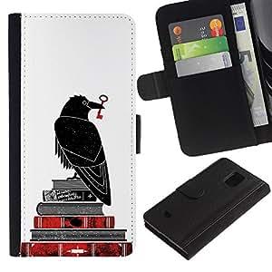LASTONE PHONE CASE / Lujo Billetera de Cuero Caso del tirón Titular de la tarjeta Flip Carcasa Funda para Samsung Galaxy S5 Mini, SM-G800, NOT S5 REGULAR! / White Bible Key Books Reading Deep