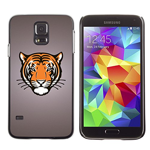 amsung Galaxy S5 tiger portrait drawing face animal big cat wild / Slim Black Plastic Case Cover Shell Armor