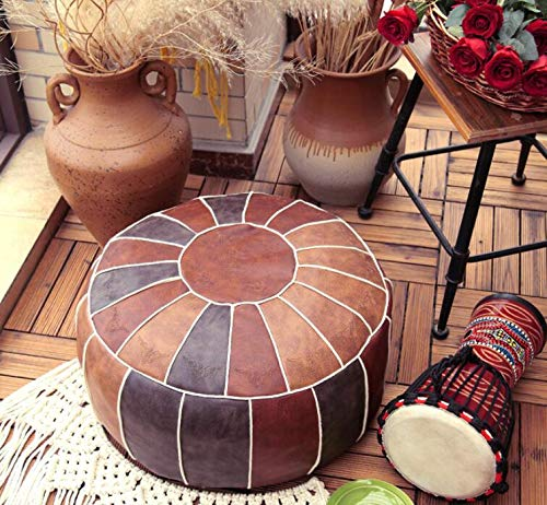 RISEON Boho Handmade Faux PU Leather Moroccan Pouf Footstool Ottoman Leather Poufs Unstuffed 23