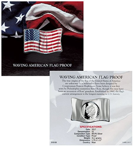 Shaped Coin Silver (2017 NU Waving American Flag Shaped Silver Colorized Proof $2 GEM Proof Uncertified)