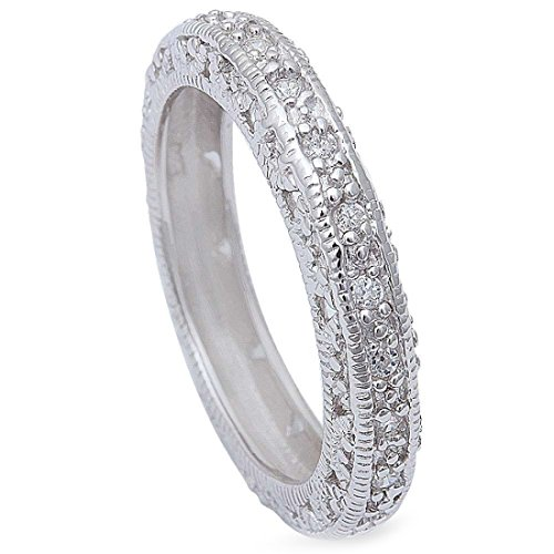 Sterling Silver Vintage Pave (4.3mm Vintage Antique Design Full Eternity Stackable Band Ring Round Cubic Zirconia 925 Sterling Silver, Size-7)