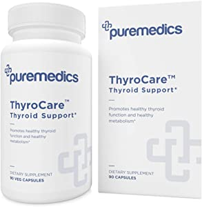 PUREMEDICS ThyroCare Thyroid Support Complex - Natural Thyroid Support Supplement with Iodine - Recommended by Doctors - 3rd Party Lab Certified - Hypoallergenic - Soy-Free - Gluten-Free - 90 Capsules