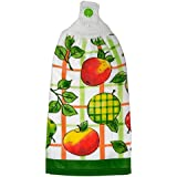 Apples Double Kitchen Cotton Hand Towel Crochet Top White Red Green Orange Yellow