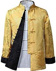 KINDOYO Mens Womens Tang Suit Tops - Both Sides Coat Jacket Long Sleeve Martial Arts Kung Fu Shirts