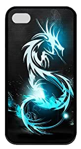 IMARTCASE iPhone 4S Case, Blue Dragon Symbol Durable Case Cover for Apple iPhone 4S/5 TPU Black