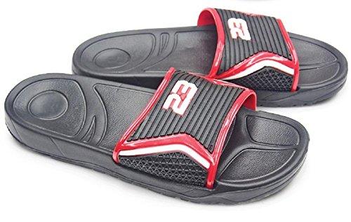Diny Home & Style Heren Slip-on Slide Sandalen Strand Schoenen Flip Flops Zwart / Rood