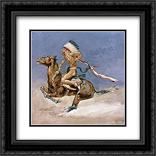 Remington, Frederic 29x28 Black Ornate Frame and Double Matted Museum Art Print Titled Pony War Dance