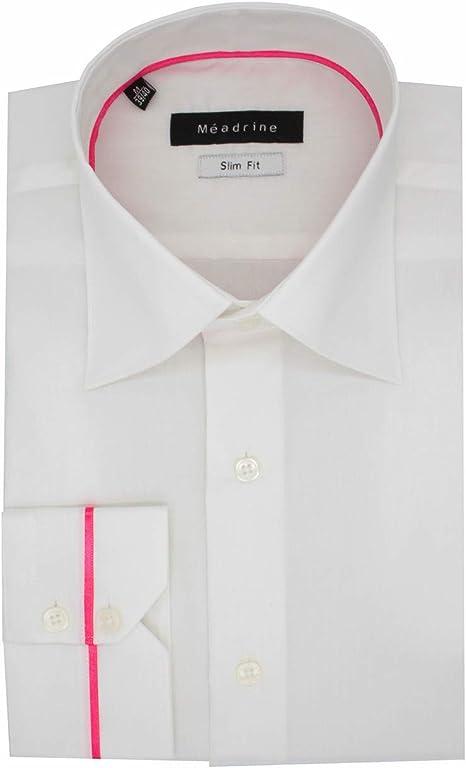 Camisa de los Hombres equipados Botones Cuello Blanco 2 con Cuello Italiano Rosado con Bordes de Cuello y Cuidado fácil: Amazon.es: Ropa y accesorios