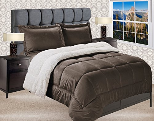 Elegant Comfort Premium Quality Heavy Weight Micromink Sherpa-Backing Reversible Down Alternative Micro-Suede 2-Piece Comforter Set, Twin, Solid Chocolate Brown
