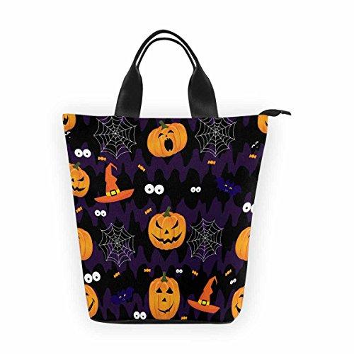 InterestPrint- Abstract Halloween Pumpkin Scary Face Lunch Tote Bag,Waterproof Portable Nylon Shopping Handbag,Reusable Bento Lunchbox Grocery Bag for Men Women Adult Child Girls (Scary Halloween Zipper Face)