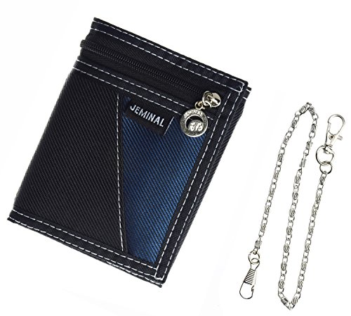 JEMINAL New Mens Black Canvas Vertical Wallets Purse with chain