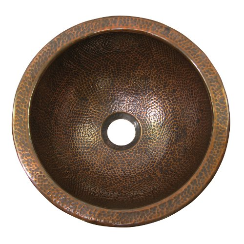 The Copper Factory CF148AN Solid Hand Hammered Copper Medium Round Undermount Lavatory Sink, Antique Copper