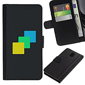 YiPhone /// Tirón de la caja Cartera de cuero con ranuras para tarjetas - Tres Colores - Samsung Galaxy Note 3 III