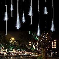 AveyLum Guirlandes Lumineuse 8 Tubes 30CM LED Météore Guirlandes Lumineuse Etanche LED Météore Pour Mariage Fête Soirée Maison Arbre Sapin Jardin de Noël Parti Xmas Arbre(Blanc)