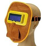 Protable Leather Solar Auto Darkening Filter Lens Hood Welding Helmet Mask