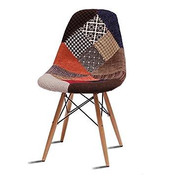BEAT COLLECTION Chaise Vintage Style Retro Fauteuil Patchwork De Conception En Tissu