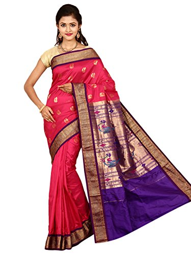 Indian Silks Peacock Design Paithani Handloom Pure Silk Saree, With Unstitched Blouse Piece (Dark_Pink)