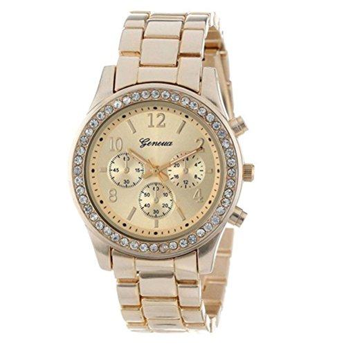 Gold Plated Casual Quartz Classic Round CZ Ladies Watch Women Wristwatch Dress Rhinestone Leather Band Quartz Wrist Watch ()