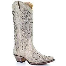 Corral Women's 14-inch Off White Glitter Inlay & Crystals Snip Toe Pull-On Cowboy Boots