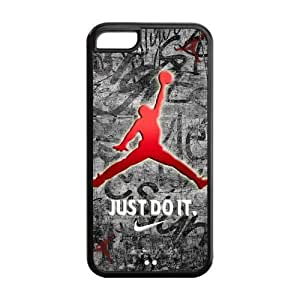 Air Jordan Apple iPhone 5C Hard Plastic Protector Cover Case Michael Jordan logo Gift Idea-black&white