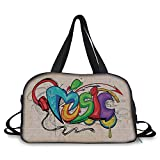 iPrint Travelling bag,Music Decor,Illustration of Graffiti Style Music Lettering Headphones Hip Hop Rhythm Tempo Hipster Concept,Multi ,Personalized