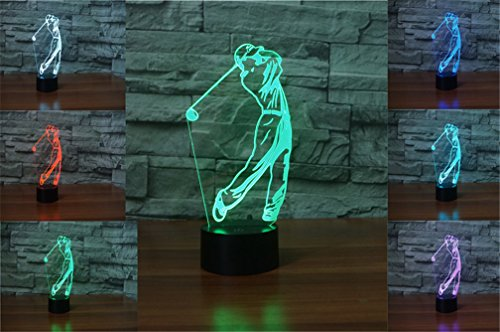 Golf Lamp - 3D Golf Desk Lamp 7 Colors Changing Touch Switch LED Night Light with USB Powered for Home/Office Decorations/Gifts by LiCheng Bridal