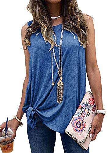 Umeko Womens Short Sleeve Tops Casual Loose Tie Knot Front T Shirt Cotton Round Neck Shirts Tees (X-Large, Z-Blue)