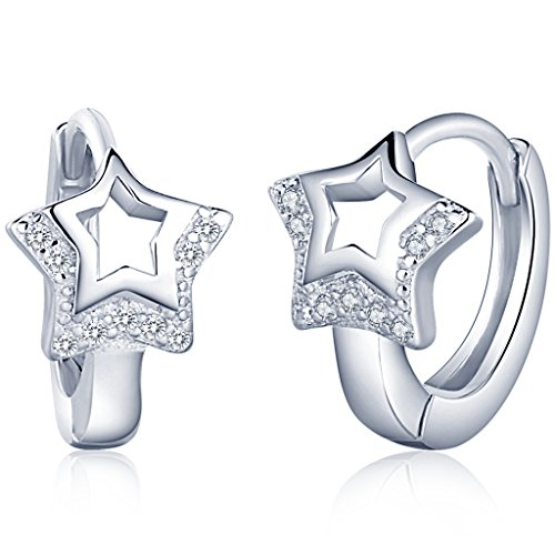 (Infinite U Huggie Earrings 925 Sterling Silver Cubic Zirconia Small Hoop Star/Heart Cartilage for Women (Star))