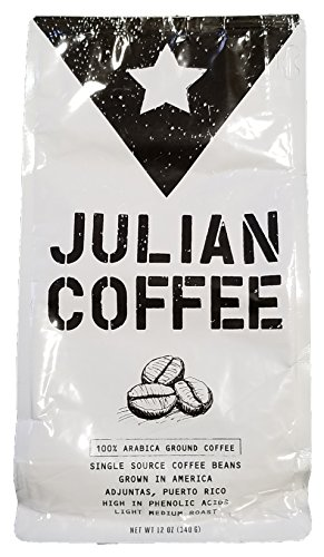 Coffee - Julian Coffee - 100% Specialty Puerto Rican Ground Coffee, Light Medium Roast, 12 oz Bag