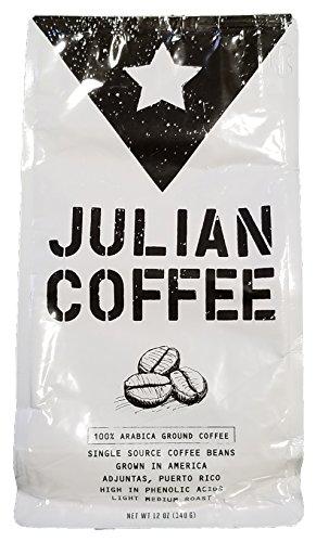Coffee – Julian Coffee – Specialty Puerto Rican Ground Coffee, Shade Grown On A Family Farm, Single Origin, Light Medium Roast, 12 oz Bag