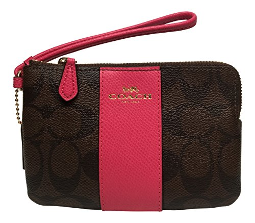 Coach Signature PVC Corner Zip Wristlet Brown with Pink Ruby Stripe 54629 Pink And Brown Stripes
