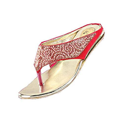 bc0e06c62a9f Women s Party Wear Golden Flat Red with Pearl Broad Belt Color Fashion  Sandals Size 8  Buy Online at Low Prices in India - Amazon.in