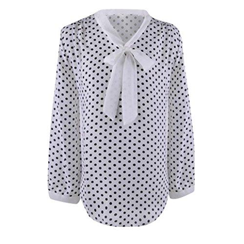 Felpe Bianco Donna Camicia VICGREY Sciolto DOT Polka Donna T Moda Casuale Sciolto Manica Camicetta Shirt Chiffon Cime Donna Manica Lunga AqdCwdx5H
