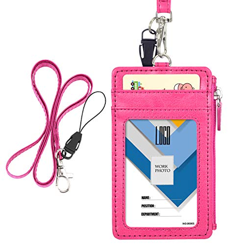 Badge Holder with Zip, Wisdompro Double Sided PU Leather ID Badge Card Holder Wallet Case with 5 Card Slots, 1 Side Zipper Pocket and 20 Inch PU Neck Lanyard/Strap - Hot Pink (Vertical)