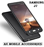 AE Mobile Accessories 360 Degree Samsung Galaxy J7 Front Back Cover Case With Tempered - Black