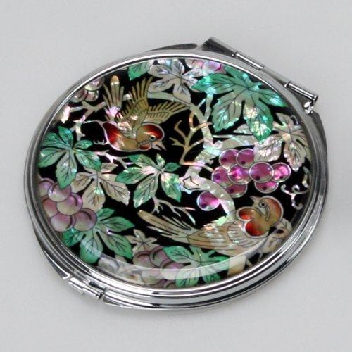 Specchio Compatto Doppio Rotondo in Madreperla Specchio Per Truccarsi Per Trucchi o Cosmetici Con Motivo Foglie Verdi d'Uva Antique Alive