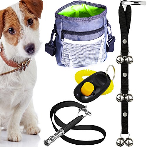 4-in-1 Puppy Training Essentials Kit – Bark Control Ultrasonic Whistle, Potty House Train Doorbells, Treat Pouch W/ Waste Bag Dispenser & Pet Clicker W/ Strap. Thoughtful Gift Set for New Dog Owners
