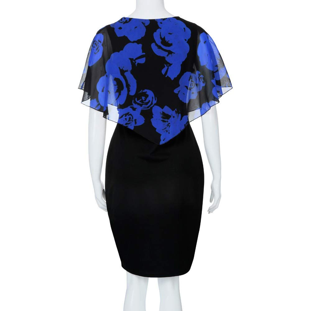 Womens Fashion Plus Size Dress Ladies Rose Print Chiffon Straight Skirt Ruffles Office Pencil Dresses for Women