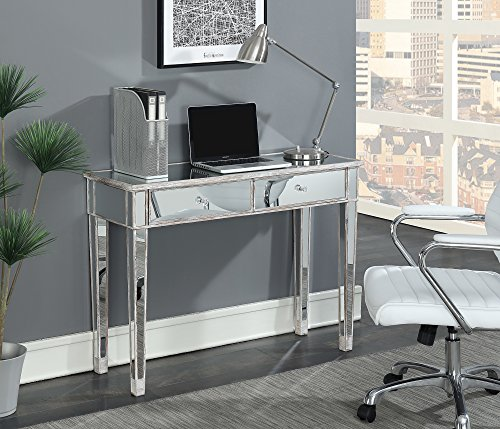 (Convenience Concepts Gold Coast Mirrored Desk Vanity, Weathered White / Mirror)