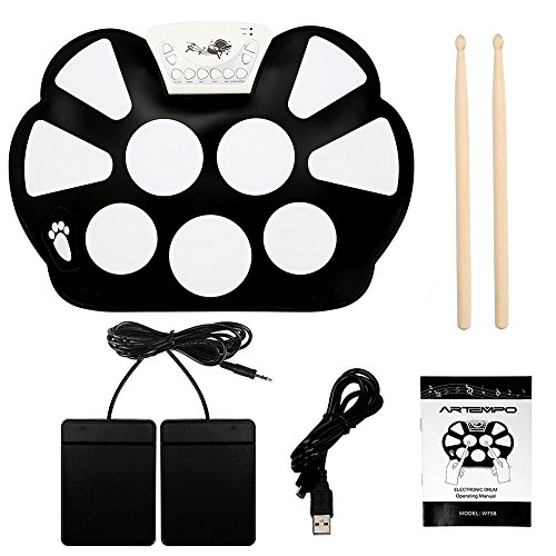 Artempo Portable Roll Up Drum Electronic Drum Pad with Drum Sticks - Foldable, USB MIDI Connection, Record Function