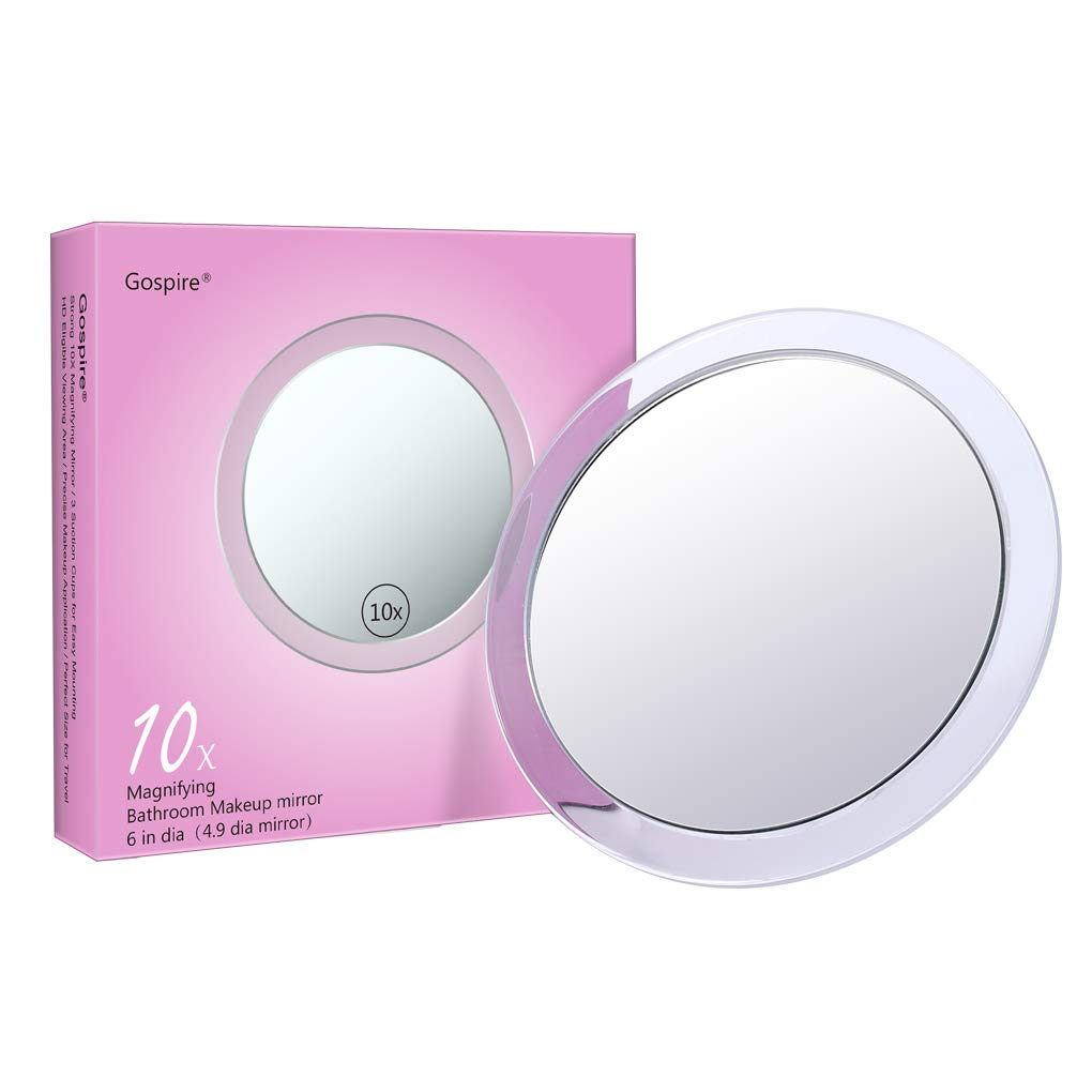 Gospire 10X Magnifying Mirror 6 inch with 3 Suction Cups Easy Mounting Round Pocket Magnified Mirror Used for Precise Makeup Application - Eyebrows/Tweezing/Shaving/Blackhead/Blemish Removal