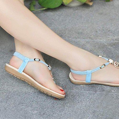 Calzado de mujer,Amlaiworld Bohemia dulces moldeados de las sandalias de las sandalias del dedo del pie del clip Azul