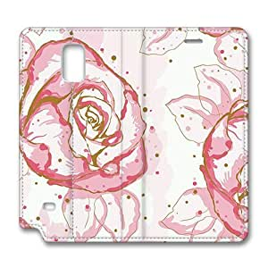 Brain114 Fashion Style Case Design Flip Folio PU Leather Cover Standup Cover Case with Cartoon Pink Roses Pattern Skin for Samsung Galaxy Note 4