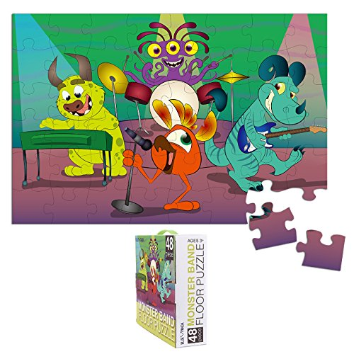 (Floor Puzzles for Kids - 48-Piece Giant Floor Puzzle, Monster Band Jumbo Jigsaw Puzzles for Toddlers Preschool, Toy Puzzles for Kids Ages 3-5, 2 x 3)