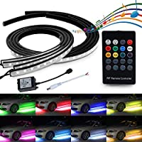 LED Neon Underglow Light, MIHAZ 4Pcs High Intensity Atmosphere Lights for Car RGB Running Colors Musical Sync Under Car Auto Neon Tube Light Strip Wireless Remote Control Sound Active(90-120cm)