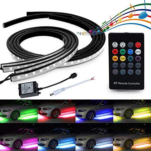 MIHAZ 4Pcs LED Undercar Glow Lights, Underglow Atmosphere Decorative Light Strip Kit Running RGB Multi-Color Under Car Musical Sync Light Tube Underbody Sound Actived Wireless Remote Control (60-90cm)